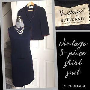 "💙 VINTAGE ""Butte Knit"" 3-piece SKIRT SET"